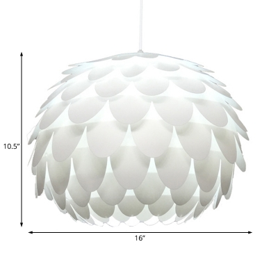 Dome Hanging Light with Fishscale Design Modern Plastic 1 Light 12