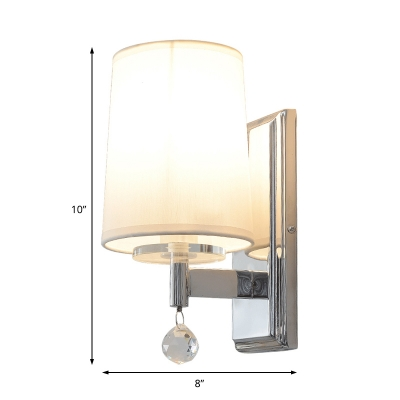 Fabric Coolie Shade Wall Light with Crystal Ball 1 Light Postmodern Wall Sconce Light in Chrome for Cafe