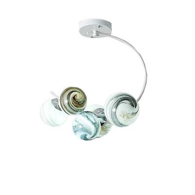 Handblown Glass Planet Semi Flushmount Modern Decorative Semi Flush Light with Black/White Curved Arm