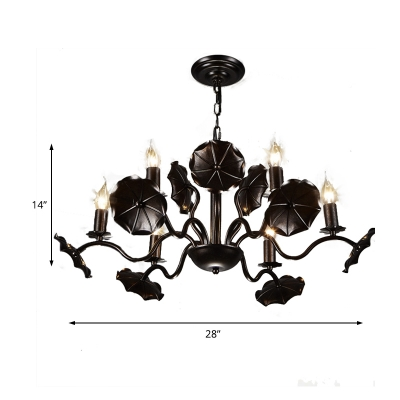 Industrial Style Lotus Leaf Chandelier Light Wrought Iron Multi Light Pendant in Rust with 39