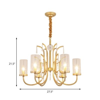 Modernism Cylinder Pendant Light with Crystal Accents 4/6/8 Lights Clear Glass Chandelier Lamp in Gold