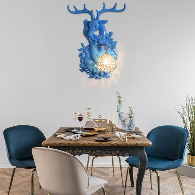 Resin Elk Wall Sconce Loft Style 1 Light Sconce Lighting with Dome Crystal Shade in Polished Blue/Gold/Yellow/White Finish