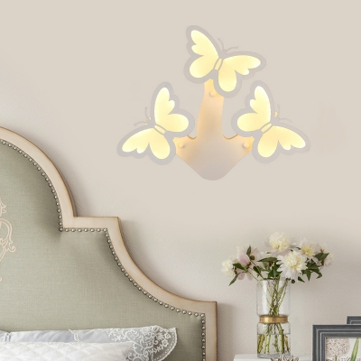 White Butterfly Wall Mount Lamp Contemporary Acrylic Led Indoor Wall Light in White