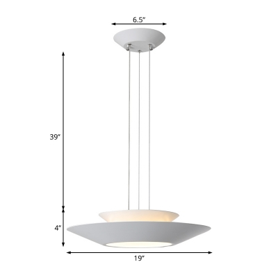 White Hanging Ceiling Light with Metal Shade Integrated Led Indoor Pendant Light in Warm/White