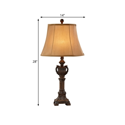 1-Head Tapered Table Lighting Brown Fabric Shade Traditional Standing Table Lamp in Aged Bronze