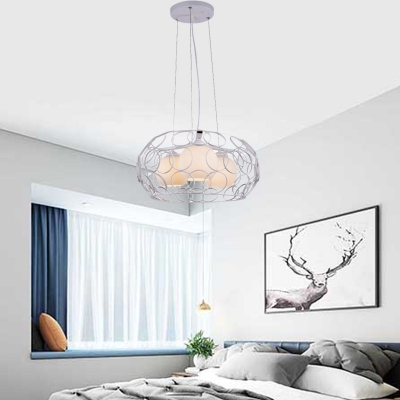 3 Lights Orb Hanging Chandelier with Circle Metal Frame Modern Opal Glass Pendant Lamp in Black/White