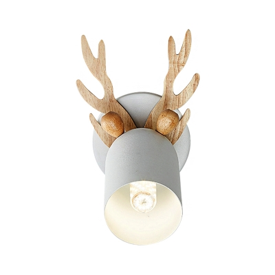 Antler Decorative Wall Mount Lamp Modernist Metal 1 Bulb Gray/White/Green Cylinder Wall Sconce Lighting for Bedroom