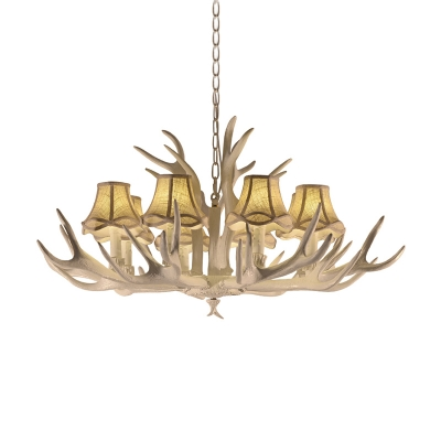 Antlers Pendant Chandelier with Fabric Bell Shade Retro 8 Bulbs Pendant Lighting in White