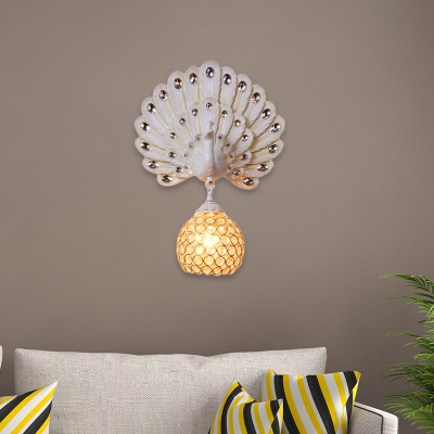 Aqua/Silver/White Peacock Wall Light Sconce Country Style 1 Light Wall Lamp with Dome Crystal and Metal Shade