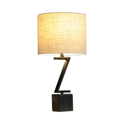 Bedroom Drum Standing Table Light Fabric Shade Simple Traditional Table Lighting in Black with Z/O Shape Design