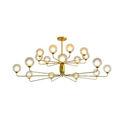 Black/Gold Sputnik Ceiling Chandelier Post Modern Metal 8/12/18 Lights Pendant Lighting with Clear Glass Shade