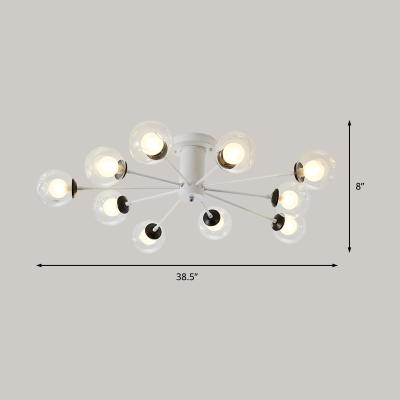 Black/White Sputnik Semi Flush Lighting Modern 8/10 Bulbs Semi Flush Lamp with Bubble Clear Glass Shade