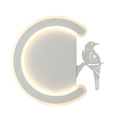 C Shape Wall Mount Light Modern Metal Led Wall Light Fixture in Warm/White with Bird Accent, Left/Right
