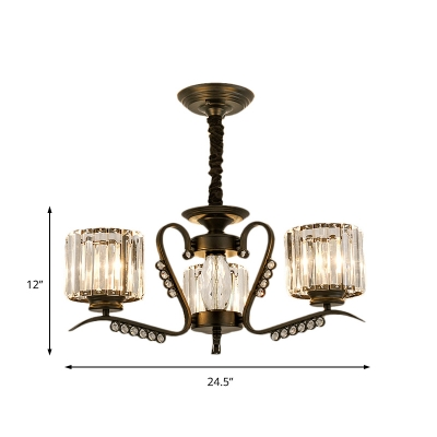 Clear Crystal Drum Chandelier Lamp 3/5/6/8 Heads Modern Suspension Light in Black