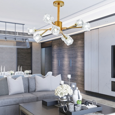 Clear Crystal Ice Cube Chandelier Nordic Style 8/12 Heads Branch Hanging Ceiling Light in Gold/Grey