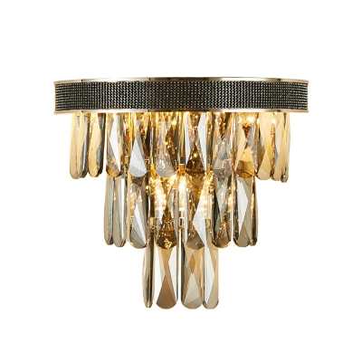 Crystal Block Flush Mount Wall Sconce Modern LED Wall Lamp in Smoke Gray for Living Room