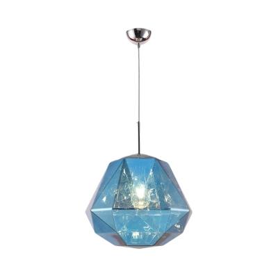 Diamond Hanging Lamp with Black/Blue/Copper/Gold/Silver Acrylic Shade Adjustable Post Modern Single Pendant Light