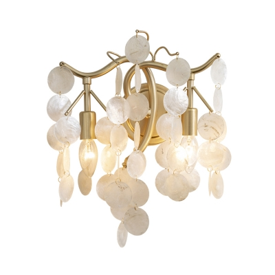 Shell Open Bulb Wall Sconce Light 2 Lights Contemporary Metal Wall Lighting in Gold