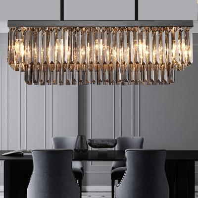 Smoke Crystal Rectangle Pendant Light 10/12 Bulbs Modern Hanging Chandelier for Dining Room, 31.5