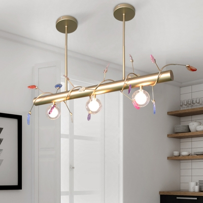 Triple Light Linear Pendant Lamp with Agate Accents Post Modern Metal Kitchen Island Light in Gold