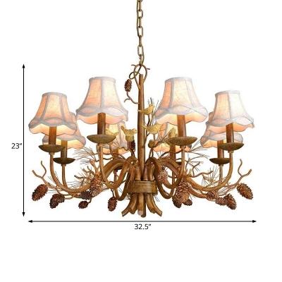 White Fabric Shade Bell Pendant Lighting 8 Lights Rustic Chandelier Lamp for Living Room