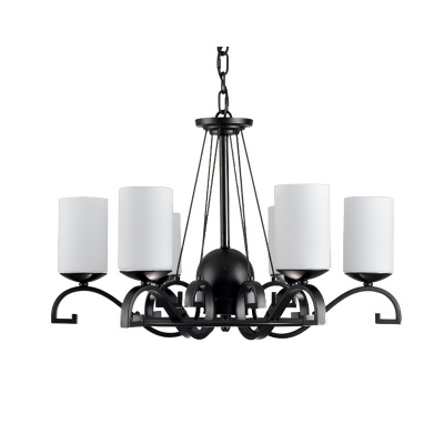 6 Lights Cylinder Hanging Ceiling Light with Opal Glass Shade Traditional Pendant Lamp in Black Finish