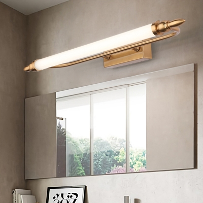 Acrylic Cylinder Vanity Mirror Light Mid Century Modern Led Wall Lighting in Antique Brass