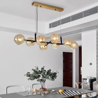 Amber Glass Bubble Pendant Light Modern 8 Lights Kitchen Island