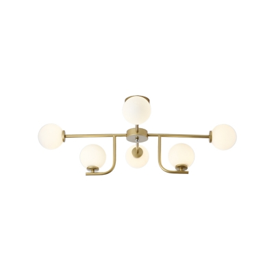 Ball Ceiling Lamp with White Glass Shade 6/10 Lights Modern Vintage Semi Flush Ceiling Light in Gold