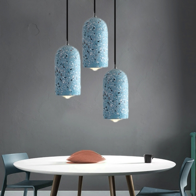 Concrete Cylinder Hanging Pendant Light Modern Industrial 1 Light Blue/White/Red Drop Ceiling Light