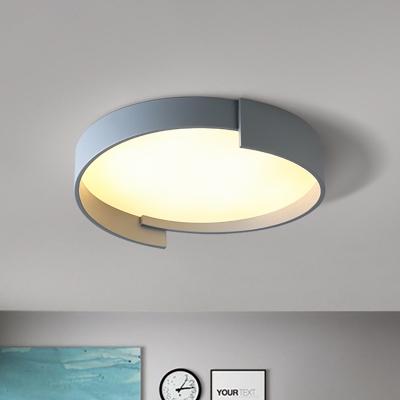 Green/Grey/White Circular Flushmount Lamp Modern Nordic Flush Lighting in White Light, 16