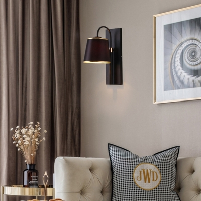 Indoor Wall Lamp with Conical Shade Metal Modernist 1 Head Black/White Wall Mounted Light Fixture for Living Room
