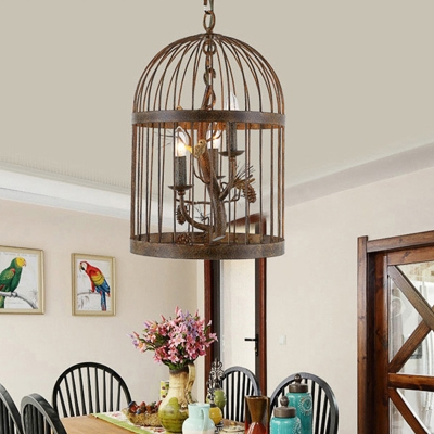 Iron Birdcage Hanging Pendant Light Village Style 3 Lights Chandelier Lamp in Rust with Pinecone Accents