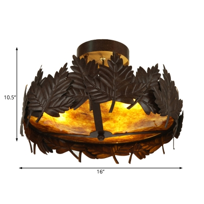 Maple Leaf Semi Flush Lamp Loft Style Metal and Marble 3 Lights Ceiling Flush Lighting in Brown