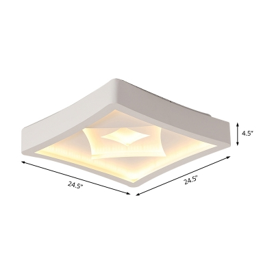 Matte White Square Flush Lighting with Rhombus Design Nordic Style LED Ceiling Lamp with Metal Shade, 20.5