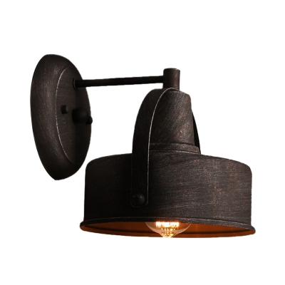 Metal Drum/Trumpet Wall Mounted Light Retro Rustic 1 Light Wall Sconce Lighting in Antique Black