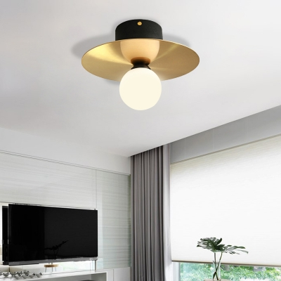 Milk Glass Globe Light Fixture Ceiling with Golden Disk Contemporary 1 Bulb Ceiling Light for Living Room