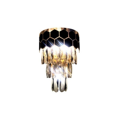 Modern Stylish Wall Light Clear Crystal 2 Lights Black LED Wall Lamp for Bedroom Bathroom