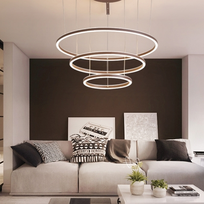 Multi Ring Ceiling Pendant Light Modern Simple Metal Chandelier Light with Acrylic Shade