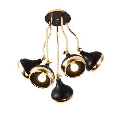 Post Modern Dome Hanging Lamp Metal 3/5 Lights Multi Light Pendant in Black and Gold
