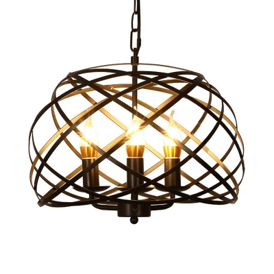 Triple Light Chandelier Lamp with Candle Metal Frame Industrial Hanging Pendant Light in Black