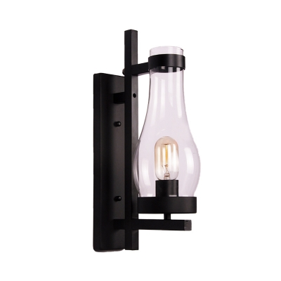 Vase/Birdcage/Oval Corridor Wall Lighting Fixture Metal 1 Head Vintage Wall Lamp in Black