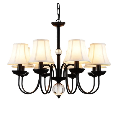 White Bell Shade Chandelier Lighting Rustic Style 3/5/6/8 Lights Fabric Suspension Light for Bedroom