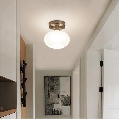 White Glass Oval Flush Mount Lantern Modernist 1 Bulb Ceiling Mounted Light for Bedroom