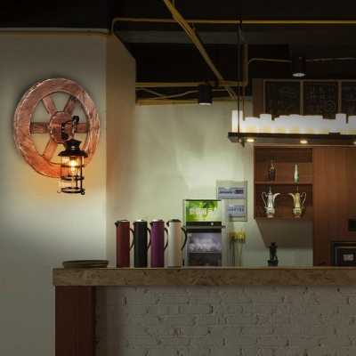 Wood Wheel Lantern Wall Light Fixture Rustic Style 1 Head Metal Wall Sconce Lamp in Black HL564029 фото