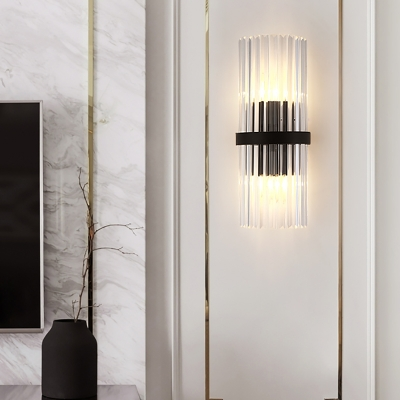 1/2-Pack Postmodern Tube Wall Light Clear Crystal Black Sconce Lamp for Dining Room Kitchen