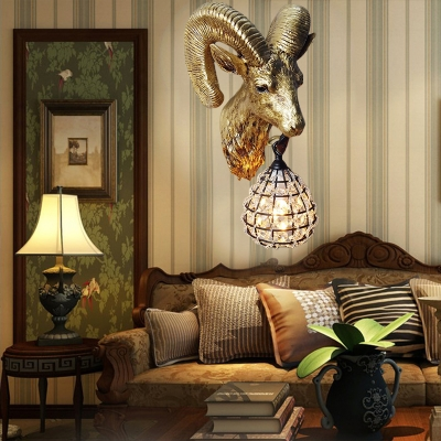 1 Light Goat Wall Mounted Lamp with Crystal/Glass Shade Country Style Wall Lighting in Gold