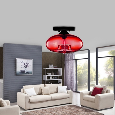 1 Light Oval Semi Flush Lighting with Amber/Blue/Brown/Clear Glass Shade Minimalist Outdoor Flushmount in Black