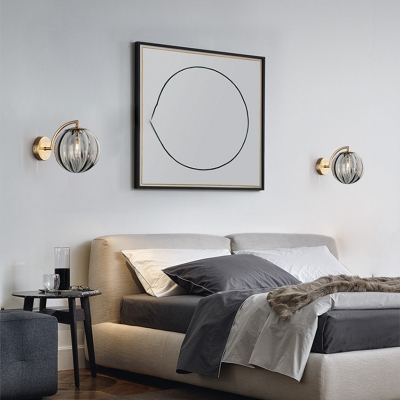 1 Light Spherical Wall Sconce with Ripple Glass Shade Post Modern Wall Lamp in Brass