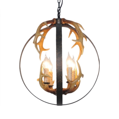 4/8 Lights Orb Hanging Pendant Light with Antler Accents Metal Rustic Suspension Lamp in Rust
